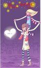 情人节卡通插画0007,情人节卡通插画,人物,脚跨 男友 脖子