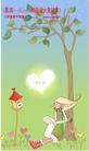 情人节卡通插画0008,情人节卡通插画,人物,独自 坐靠 小树