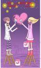 情人节卡通插画0013,情人节卡通插画,人物,刷子 油漆 凳子