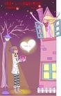 情人节卡通插画0018,情人节卡通插画,人物,窗户 真心 示爱