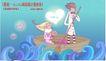 情人节卡通插画0031,情人节卡通插画,人物,木船 划桨男孩 捧鲜花的女孩