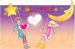 情人节卡通插画0040,情人节卡通插画,人物,月亮 星星 荡秋千