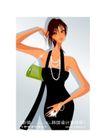 时尚俱乐部0037,时尚俱乐部,人物,绿色手提袋 黑色吊带装 首饰