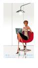 时尚城市女性0012,时尚城市女性,人物,办公女性 红椅子 尖尖高跟鞋 电脑 射灯