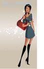 时尚城市女性0013,时尚城市女性,人物,购物 黑袜子 挎包 连衣裙 时尚新女性