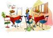 时尚女孩插画0002,时尚女孩插画,人物,餐厅 花瓶 冷清