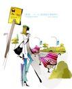 时尚女孩插画0007,时尚女孩插画,人物,公交车 停靠点 等待
