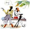 时尚女孩插画0008,时尚女孩插画,人物,闲聊 女士 倾听