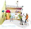 时尚女孩插画0009,时尚女孩插画,人物,斜靠 栏杆 聊天