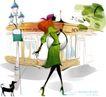 时尚女孩插画0011,时尚女孩插画,人物,贵妇 遛狗 黑狗 优雅身姿 街灯