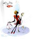 时尚女孩插画0012,时尚女孩插画,人物,时尚女孩 镜子 看书 手提袋