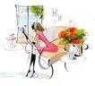 时尚女孩插画0013,时尚女孩插画,人物,家居生活 沙发 花瓶 听着歌