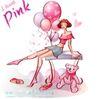 时尚女孩插画0022,时尚女孩插画,人物,粉红 气球 布娃娃