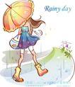 时尚女孩插画0023,时尚女孩插画,人物,雨伞 雨滴 降雨