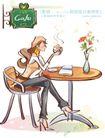 时尚女孩插画0024,时尚女孩插画,人物,饮茶 饮品 休息