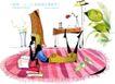 时尚女孩插画0029,时尚女孩插画,人物,平躺 小说 地毯