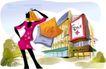 时尚女孩插画0036,时尚女孩插画,人物,商场 漂亮女郎 商标