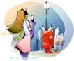时尚女孩插画0039,时尚女孩插画,人物,街灯 金色长发