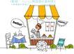 时尚简笔插画0140,时尚简笔插画,人物,餐车 插画 建筑