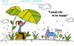 时尚简笔插画0143,时尚简笔插画,人物,大树叶 房子 白云