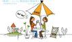 时尚简笔插画0149,时尚简笔插画,人物,太阳伞 桌子 喝饮料