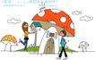 时尚简笔插画0150,时尚简笔插画,人物,大蘑菇 气温箱 白云