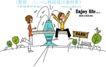 时尚简笔插画0153,时尚简笔插画,人物,喷泉 孩子 卡通