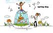 时尚简笔插画0155,时尚简笔插画,人物,鸟笼 音乐 漫画