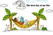 时尚简笔插画0157,时尚简笔插画,人物,椰子树 吊篮 休闲