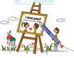 时尚简笔插画0160,时尚简笔插画,人物,爱情 爱心 铅笔