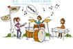 时尚简笔插画0162,时尚简笔插画,人物,音乐 钢琴 打鼓