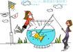 时尚简笔插画0173,时尚简笔插画,人物,鱼缸 金鱼 垂钓