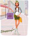 时尚购物女孩0032,时尚购物女孩,人物,上街 购物 提着包