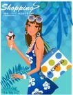 时尚购物女孩0034,时尚购物女孩,人物,夏季购物 蓝裙子 吃冰激凌
