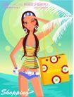 时尚购物女孩0037,时尚购物女孩,人物,海滨 夏季装扮