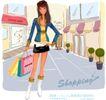 时尚购物女孩0044,时尚购物女孩,人物,插腰 步行街 提袋