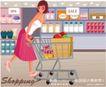 时尚购物女孩0047,时尚购物女孩,人物,超市 堆行 购物车