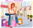 时尚购物女孩0054,时尚购物女孩,人物,墨镜 思考 雨棚
