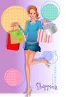 时尚购物女孩0057,时尚购物女孩,人物,短裙 抬腿 蛋糕盒