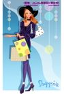时尚购物女孩0058,时尚购物女孩,人物,黑色礼帽 手提袋 肩包