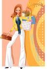 时尚购物女孩0060,时尚购物女孩,人物,钱包 黄金比例 黑领带