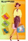 时尚购物女孩0062,时尚购物女孩,人物,丝巾 鞋子 化妆包