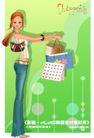 时尚购物女孩0064,时尚购物女孩,人物,牛仔裤 长发 手链