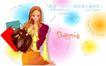 时尚购物女孩0073,时尚购物女孩,人物,珍珠手环 长卷发 大皮包