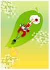 梦幻插画0003,梦幻插画,人物,绿叶 乘坐 漂浮