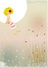 梦幻插画0011,梦幻插画,人物,白月亮 纤细植物 坐在月亮上