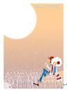 梦幻插画0012,梦幻插画,人物,小情侣 背靠背 月亮下