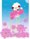 梦幻插画0013,梦幻插画,人物,春天 蓝天 红花
