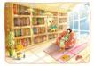 梦幻花纹风景0002,梦幻花纹风景,人物,书房 看书 阅读