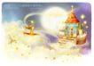 梦幻花纹风景0013,梦幻花纹风景,人物,月亮背景 小城堡 兔子 尖顶帽
